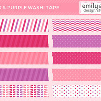 Pink and Purple Washi Tape Cute Clip Art - pink purple magenta digital tape strips pieces - Commercial Use Scrapbook, Invitations, Cards