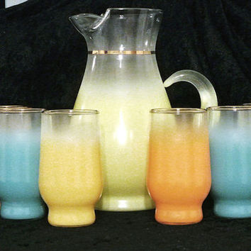Blendo Glass Cocktail Carafe Pitcher  6 Tumbler Glasses Glassware Bar Barware Set Pastel Frosted Retro Mod Mid Century Mad Men Circa 1950s