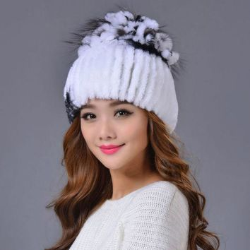 DCCKJG2 High Quality Women Beanie 2016 Winter Luxury Mink Nature Fur Knitted Female Hat Colorful European Style Eight Colors Cap Beanies