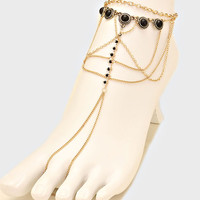 Black Beaded Fringe Barefoot Sandals, Delicate Boho Coin Foot Chain - Gold