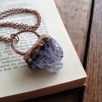 Raw Amethyst Geode Pendant Necklace - Electroformed Copper