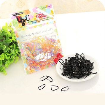 ICIKHY9 Black Multicolor Rubber Band Disposable Simple Hair Band for Women Headwear Hair Accessories