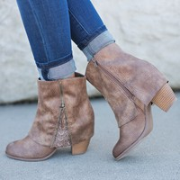 Sophie Fold Over Lace Booties (Taupe)