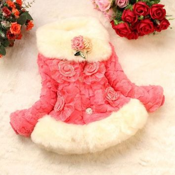 ONETOW Korean 2014 kids winter coat Girls padded coat baby Wool Sweater jacket fashion fur baby coat = 1932757892