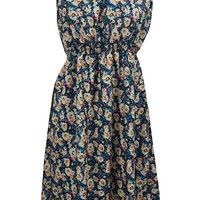 Mogul Womens Blue Dress Boho Floral Printed Sleeveless Fit Flare Dresses M: Amazon.ca: Clothing & Accessories