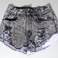 Vintage Dyed Destroyed Black ACID WASH High Waist STUDDED Bleached Levis Denim shorts black grey cut off short shorts Daisy Dukes  xs