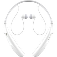 LG Tone Pro(TM) Bluetooth(R) Stereo Headset (White),  3D NeckBehind(TM) (around-the-neck wearing style with body-contoured fit),  Talk/music time: 15/10 hours,  Bluetooth(R) version 3.0