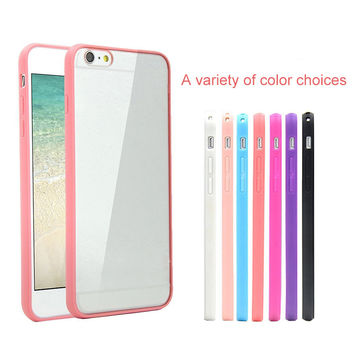 Candy TPU Silicone Bumper Frame Clear Hard Back Case Cover Skin for iPhone 4 4S 5 5S 6 6 Plus 6S 7 Plus