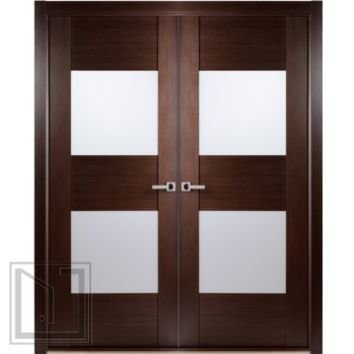 Contemporary African Wenge Interior Double Door with Frosted Glass