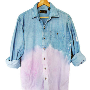 90s Grunge Unisex Pastel Purple Dip Dye Ombre Denim Long Sleeve Shirt Top Oversized
