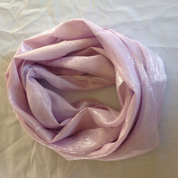 Shimmering Lilac pink ETERNITY SILK SCARF, Cancer Pink silk scarf, Iridescent Pink head scarf, Pale pink fancy circle scarf