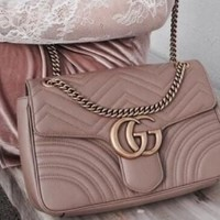 Gucci Women Letters Satchel Crossbody Shoulder Bag Khaki
