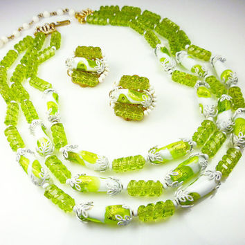 Vintage Hobe Necklace Earrings Foil Glass Lucite Chartreuse Lime Green White 1960s Jewelry Set