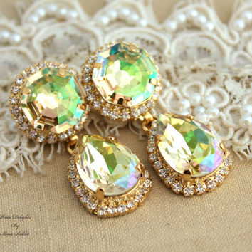 Luminous Green and white Swarovski chandelier, Crystal,Wedding jewelry,mother of the bride - 14k plated gold post earrings