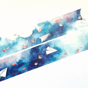 Paper planes in the sky washi tape (T00180)
