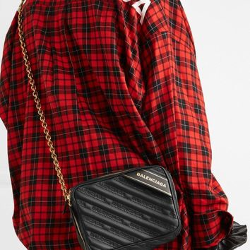 Balenciaga Blanket Reporter Xs Printed Quilted Leather Shoulder Bag #190