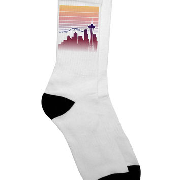 Seattle Skyline Sunrise Adult Crew Socks