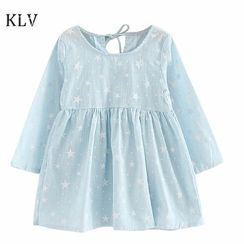 Baby Girls Dress Kids Star Printed Children's Dress Summer Beach Sundress Long Sleeve Dresses Soft Cotton Princess Dress