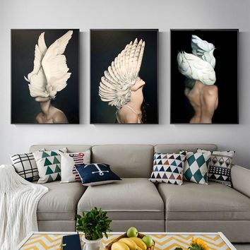 WANG ART Butterfly Feather Girl Oil Painting Awakening Canvas Poster Print Nordic Decoration Wall Picture for Living Room Modern