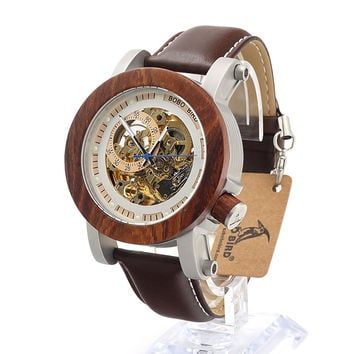 Mechanical Red Sandal Wooden Watch Vintage Luxury Mens Watch Leather Strap