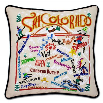 Ski Colorado Hand Embroidered Pillow