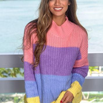Pastel Striped Knit Sweater