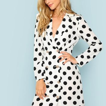Polka Dot Double Breasted Placket Wrap Dress