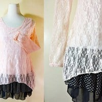 Laced Long Blouse: pastel peach, black, polka dot, layered, long sleeves, small to medium