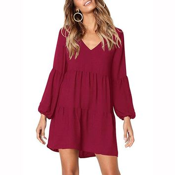 Draped 2019 Spring Summer Dress Fashion Women Casual Loose Elegance Dress Long Sleeve V-Neck Sexy Black Wine Red Dress Vestidos