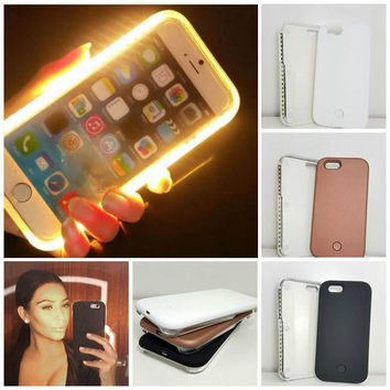 Fashion New Luxury Luminous Phone Cover LED Light Selfie Phone Case for iPhone 5 5S 6 6S 6 6S Plus