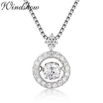 Cute Small 925 Sterling Silver Sparkling Dance Round Circle Set CZ Charm Pendant Necklace Women Girls Friend Jewelry Bijoux Gift