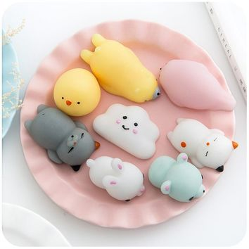 10pcs Novelty squishy Antistress Squeeze Ball Toy Cute Seals Animals Emotion Vent Ball Resin Doll Stress Reliever Toy Gift