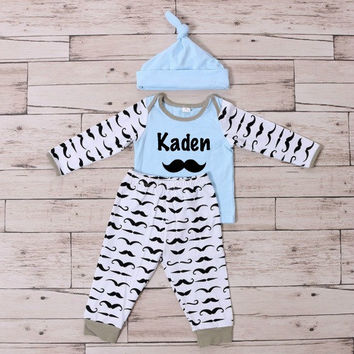 Baby Boy Mustache Outfit, Baby Boy Clothes, Take Home Outfit, Personalized, Baby Boy Pants, Mustache Pants, Mustache Shirt, 1st Birthday