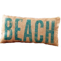 """""""BEACH"""" French Country Burlap Accent Pillow - Natural Burlap/Aquamarine - 6-in x 12-in"""