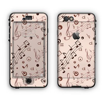 The Tan Music Note Pattern Apple iPhone 6 LifeProof Nuud Case Skin Set