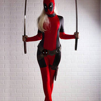 Lady deadpool costume cosplay. Comes with custom deadpool belt! Mask is completely detachable for easy eating and drinking. One spot left!