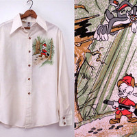 Vintage Alfie Shirt Warner Bros 1975 Elmer Fudd and Bugs Bunny Mens Shirt Looney Tones Large