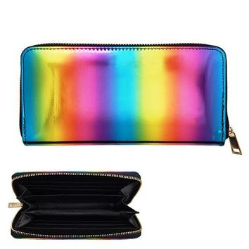 Rainbow Metallic Soft Zipper Wallet