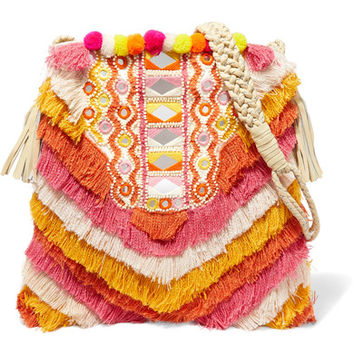 Antik Batik - Frika leather-trimmed fringed cotton shoulder bag