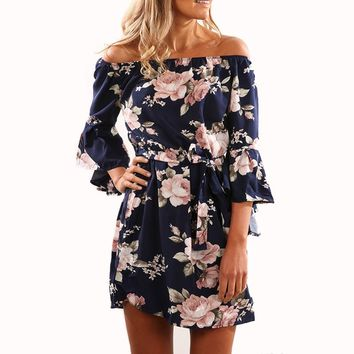 Sexy Off Shoulder Short Mini Straight Shirt Dress Women Print Flower Floral Summer Beach Dress 2017 2/3 Flare Sleeve Party Dress