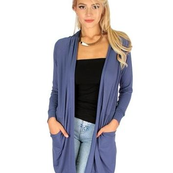 BLUE LONG-LINE HOODED CARDIGAN WITH POCKETS RC1124