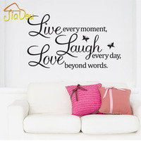 Free Shipping:Sales-Promotion Live Love Laugh Letters Transprent Waterproof Vinyl Wall Quotes Decal PVC Home Decor Wall Stickers
