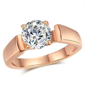 Classic Round Cut Ring With Cubic Zirconia Diamond-18k Rose Gold Tone