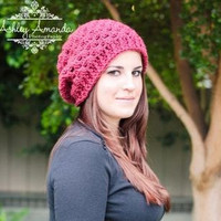 Slouchy Hat Pink Lace Oversize Womens Rose Slouch Beanie