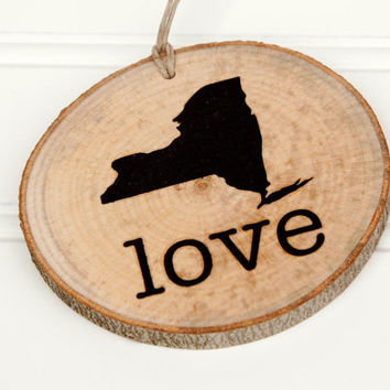 New York Love state shape Maple wood slice ornaments - Set of 4 .  Wedding favor, Bridal Shower, Country Chic, Rustic, Valentine Gift