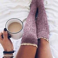Fashion lace lace over the knee pile socks women's tube socks