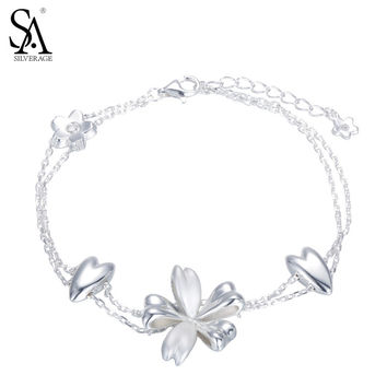 SA SILVERAGE Real 925 Sterling Silver Flowers Link Bracelet for Women Fine Jewelry Double layer 2017 New Arrival