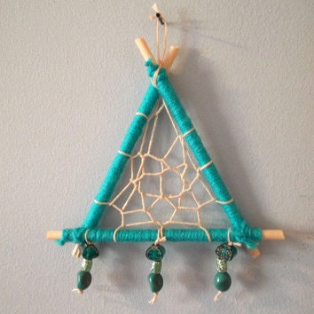 Dream Catcher, Boho Dream Catcher, Bohemian Dream Catcher, Triangle Dream Catcher, Tribal Dream Catcher, Boho Wall Decor, Bohemian Wall