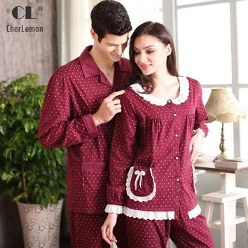 Spring & Fall Women Pajama Set Knitted Cotton Lace Full Sleeve Sleep Lounge Pyjama Round Neck Sleepwear Casual Polka Dot Pijama
