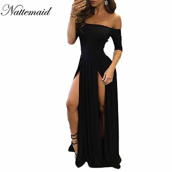 Women Slash neck Black dress 2016 Female off shoulder Maxi long Dress Side Split  Sexy Clubwear Party Dresses